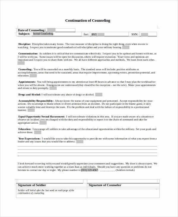 Army Initial Counseling Beautiful Sample Army Counseling form 7 Examples In Word Pdf