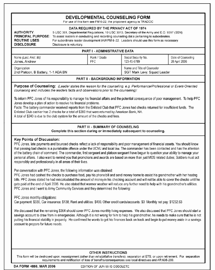 Army Initial Counseling Examples Inspirational Blank Da form 4856 Initial Counseling