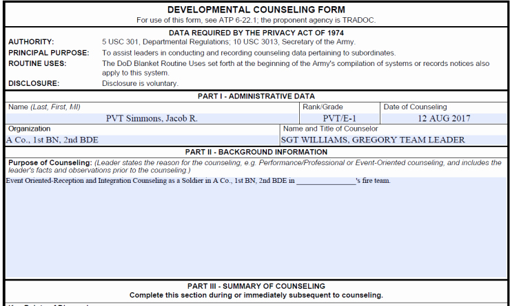 Army Initial Counseling Fresh Sample Initial Counseling – Army Board Questions
