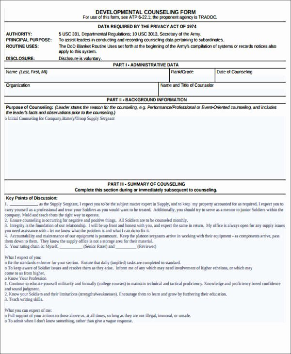 Army Initial Counseling New 8 Army Counseling form