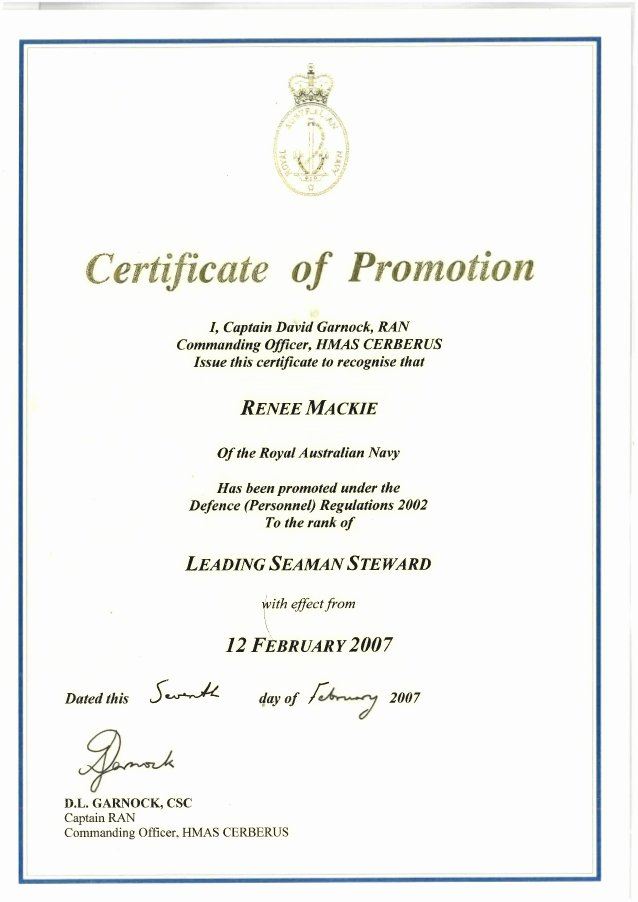 Army Officer Promotion Certificate Template Beautiful Certificate Of Promotion to Leading Hand