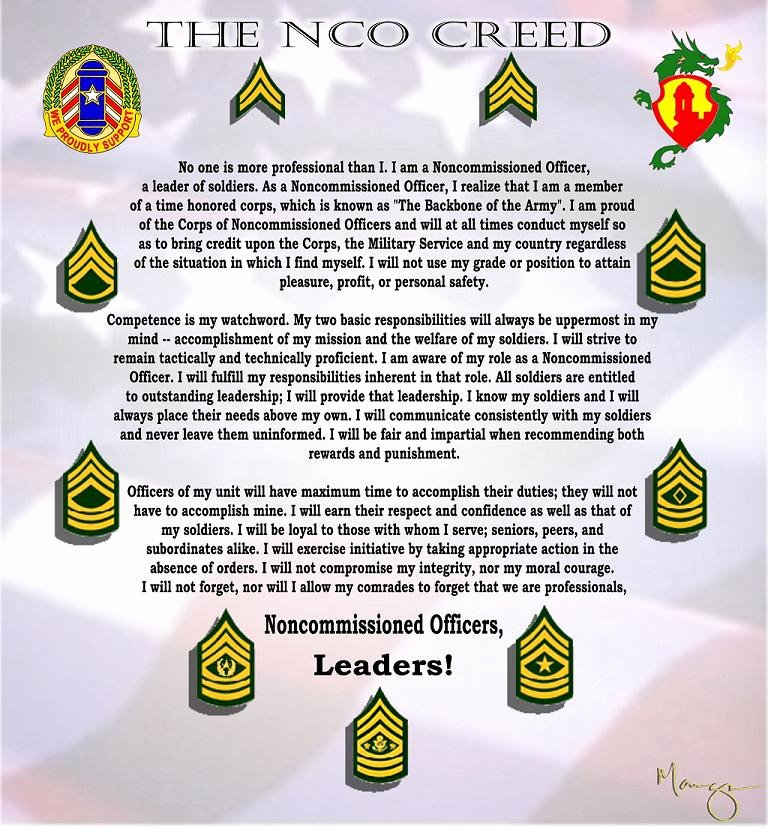 Army Officer Promotion Certificate Template Best Of Printable Nco Creed Certificate