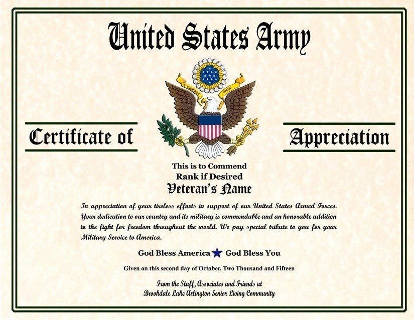 Army Officer Promotion Certificate Template Fresh 6 Army Appreciation Certificate Templates Pdf Docx