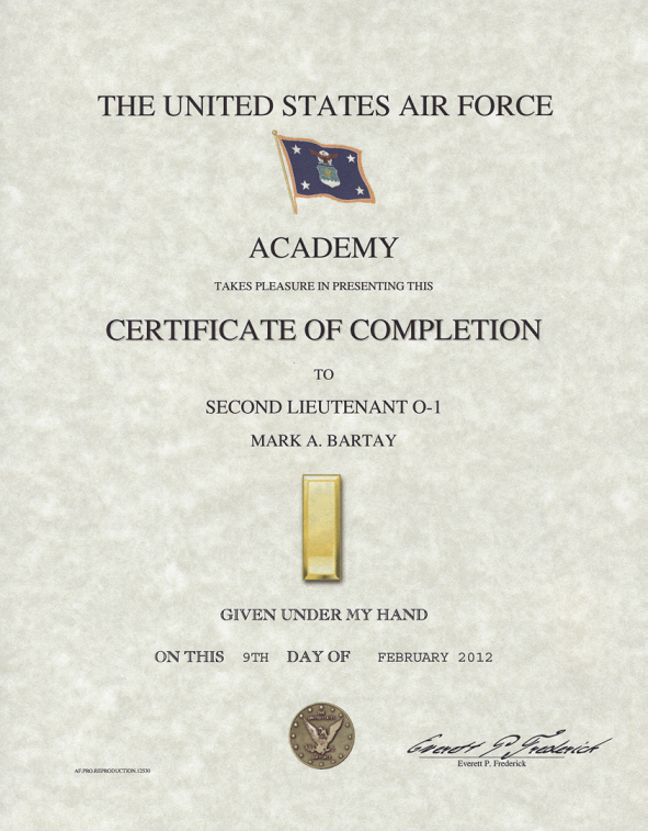 Army Officer Promotion Certificate Template Lovely Air force Academy Promotion Certificate