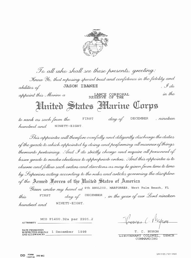 Army Promotion Certificate Template Awesome Military Certificates J