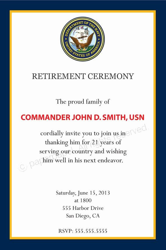 Army Promotion Certificate Template Lovely Military Retirement Ceremony by Paperpapelshop On Etsy $8