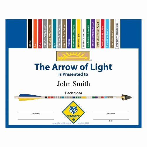Arrow Of Light Award Template Luxury Free Arrow Of Light Personalized Award Certificate
