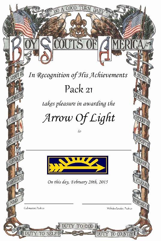 Arrow Of Light Plaque Template Fresh Webelos Crossover Certificates