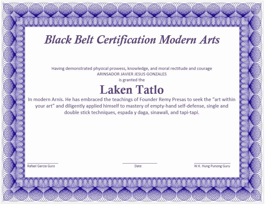 Art Award Certificate Template Free Beautiful Martial Arts Certificate Certificate Templates Printable