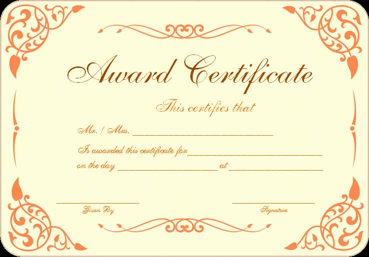 free award certificate template samples