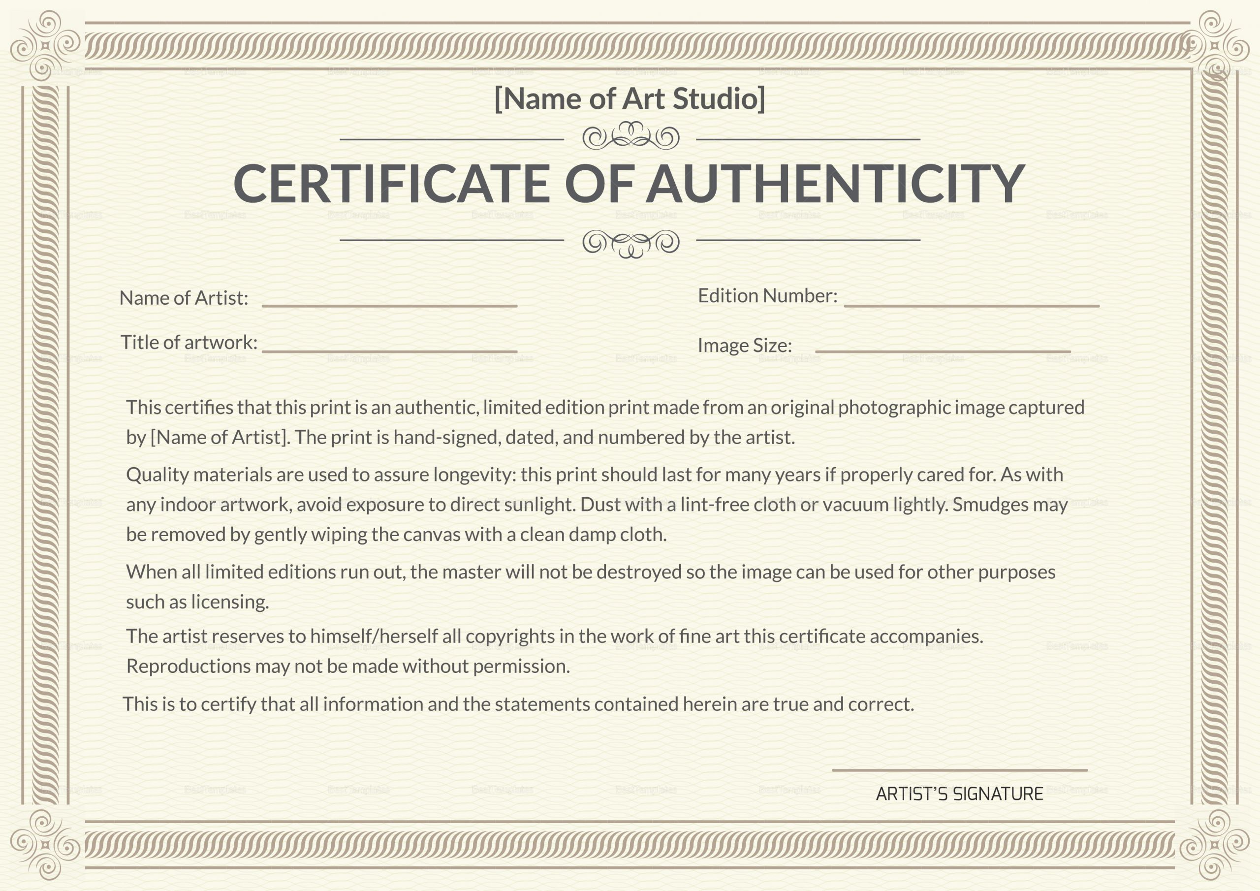 Art Certificate Of Authenticity Template Beautiful Printable Authenticity Certificate Design Template In Psd