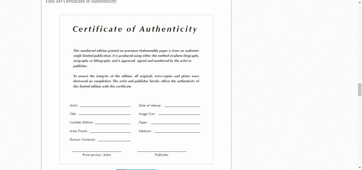 Art Certificate Of Authenticity Template Luxury Certificate Authenticity Template for Fine Art