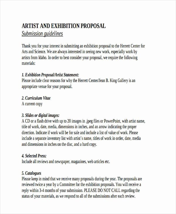 Art Exhibition Proposal Sample Best Of Free 57 Proposal Templates and Examples In Pdf