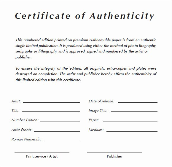 Artwork Certificate Of Authenticity Template Fresh 6 Certificate Authenticity Templates Website