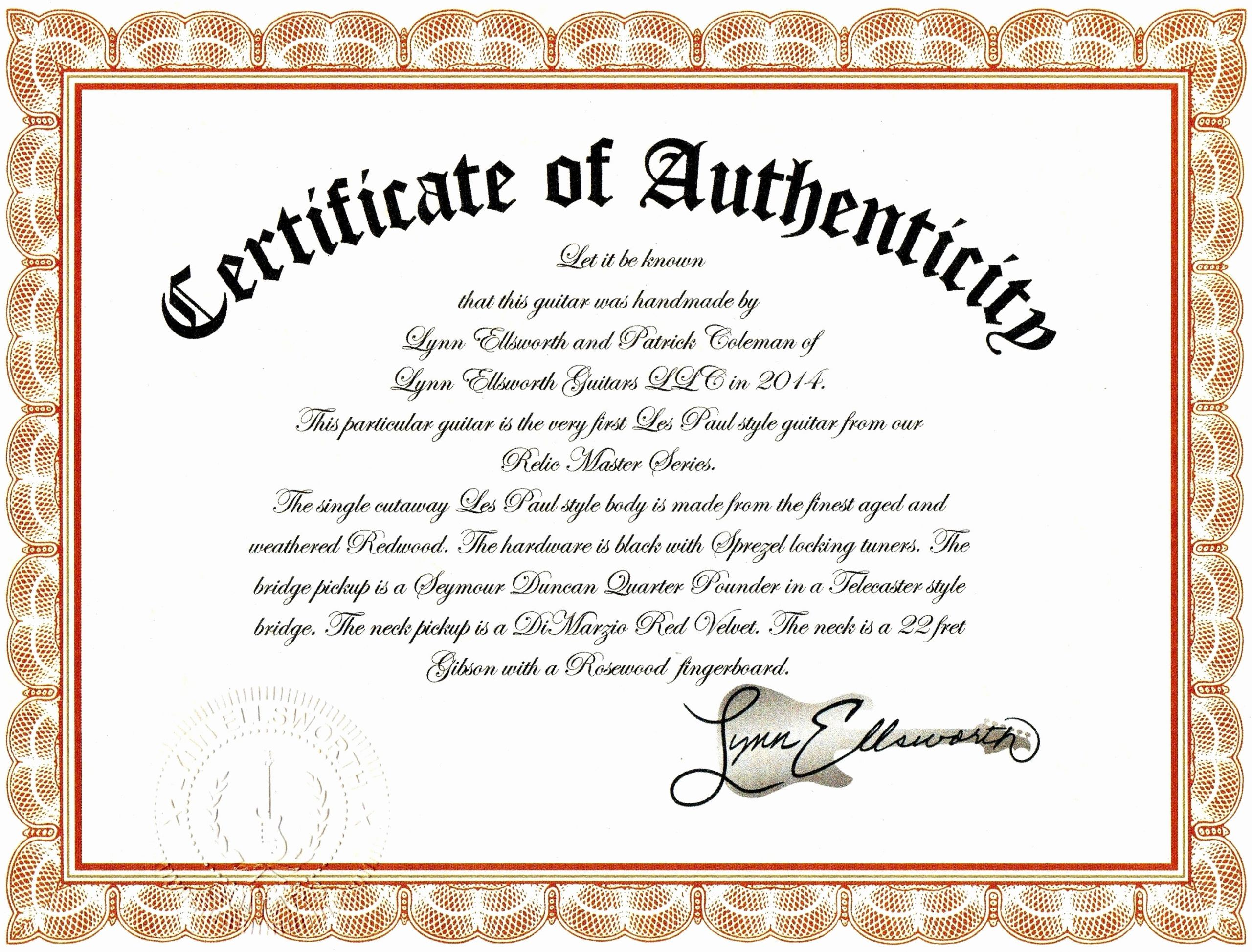 Artwork Certificate Of Authenticity Template Fresh Sample Certificate Authenticity Graphy Best