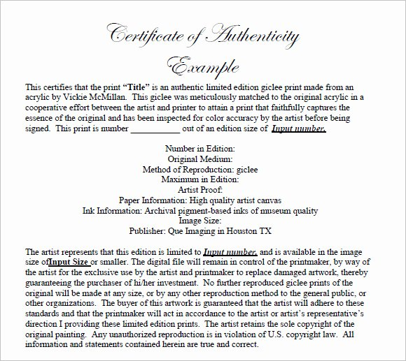 Artwork Certificate Of Authenticity Template Unique Free 26 Certificate Of Authenticity Samples In Ms Word