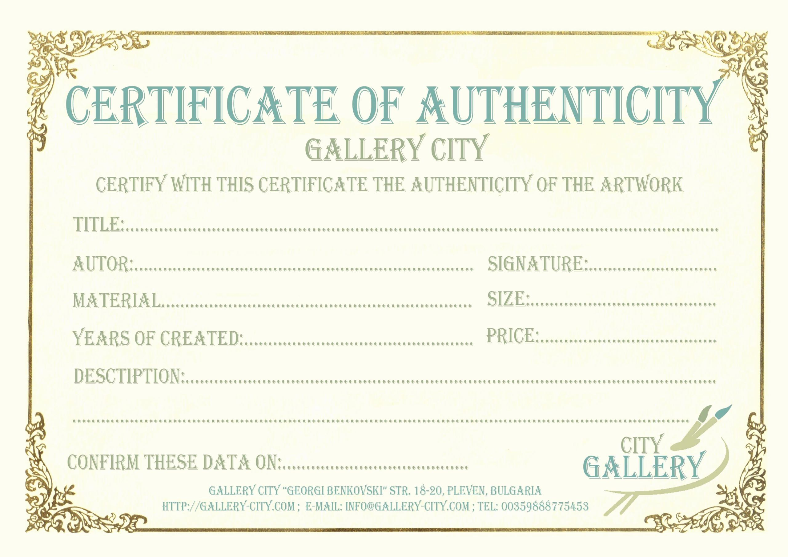 Artwork Certificate Of Authenticity Templates Awesome Certificate Authenticity Template Art Authenticity