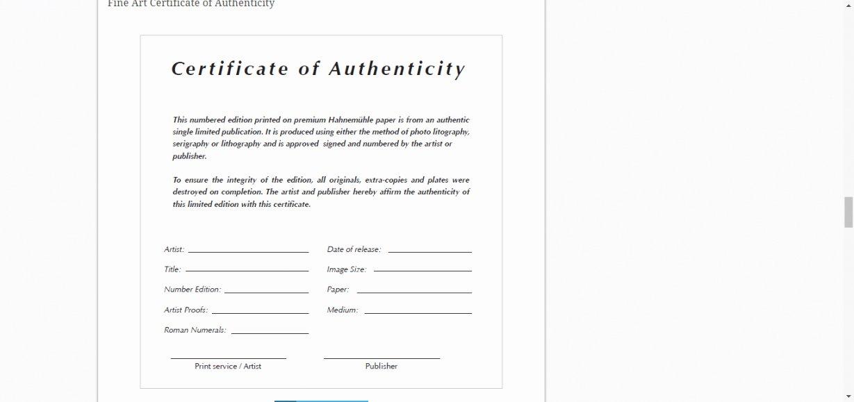 Artwork Certificate Of Authenticity Templates Inspirational Certificate Authenticity Template for Fine Art