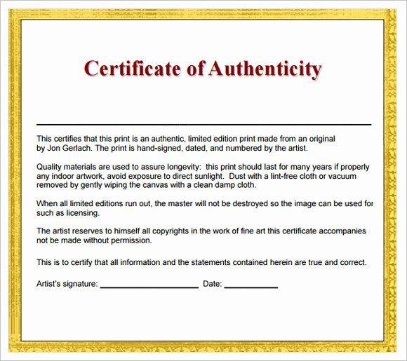 Artwork Certificate Of Authenticity Templates Luxury Free 26 Certificate Of Authenticity Samples In Ms Word