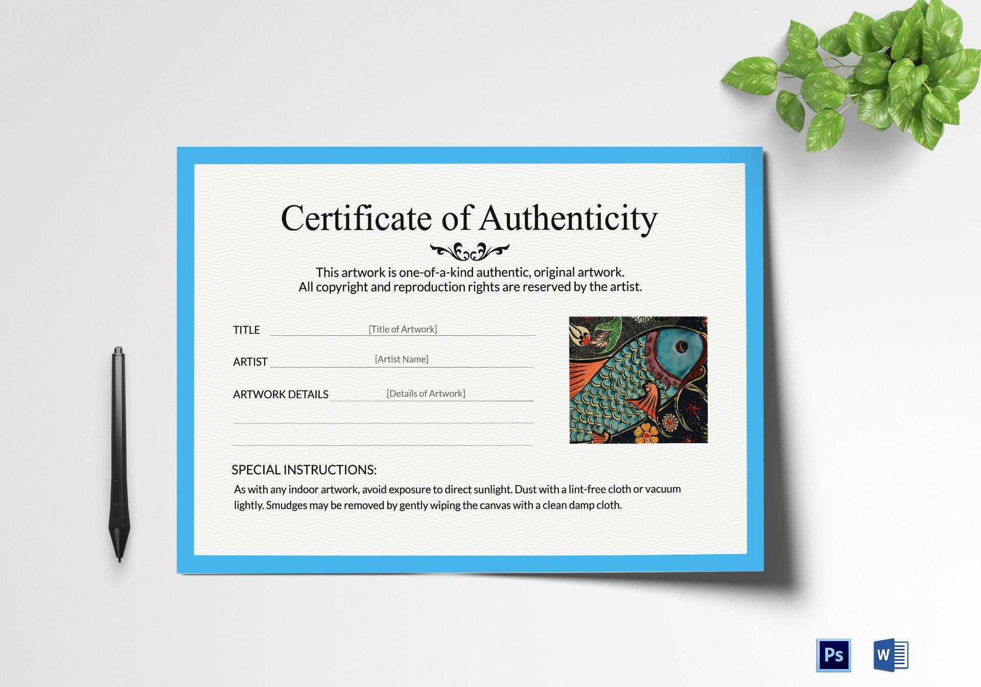 Artwork Certificate Of Authenticity Templates New Artwork Authenticity Certificate Design Template In Psd Word