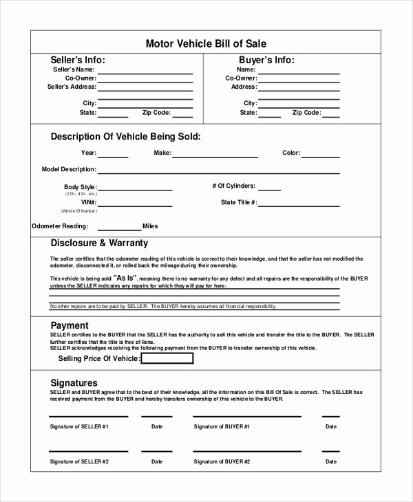 As is Bill Of Sales Fresh Vehicle Bill Of Sale Template 14 Free Word Pdf