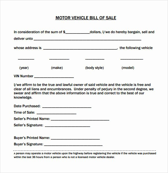 As is Bill Of Sales Unique Vehicle Bill Of Sale Template 14 Download Free