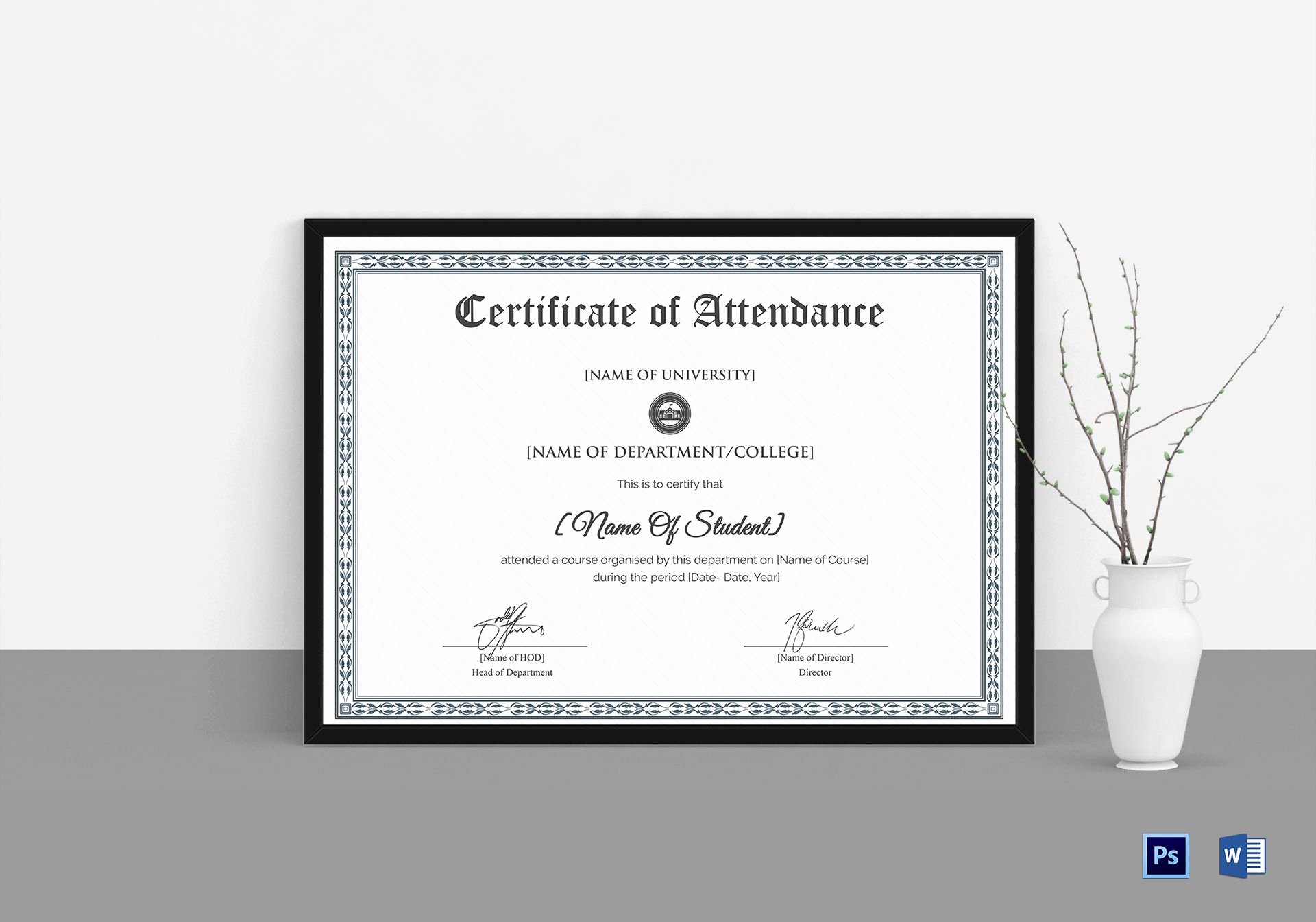 Attendance Certificate format for Students Unique College Students attendance Certificate Design Template In