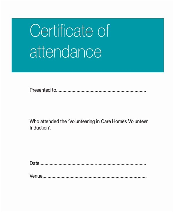 Attendance Certificate Template Word Awesome Certificate Template 12 Free Word Pdf Document
