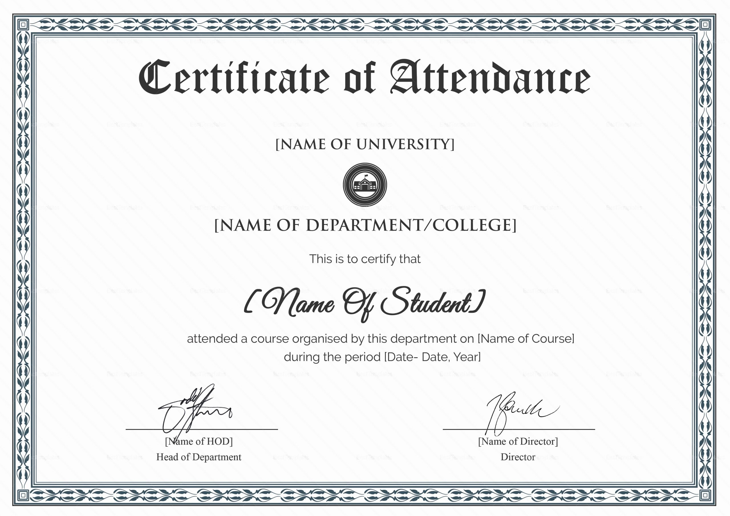 Attendance Certificate Template Word Awesome College Students attendance Certificate Design Template In