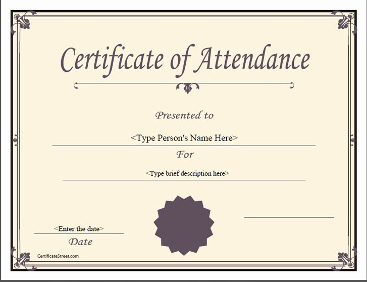 Attendance Certificate Template Word Fresh Certificate Templates Ms Word Perfect attendance