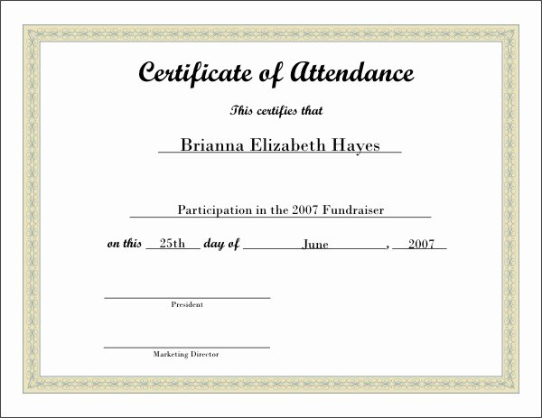 Attendance Certificate Template Word Lovely Free Printable Certificate 5