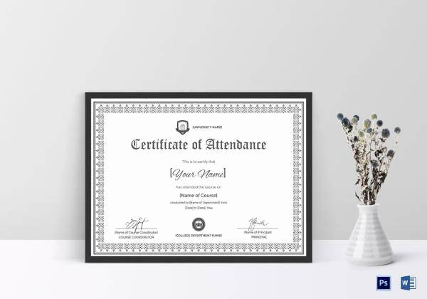 Attendance Certificate Template Word Luxury 23 Sample attendance Certificate Templates In Illustrator