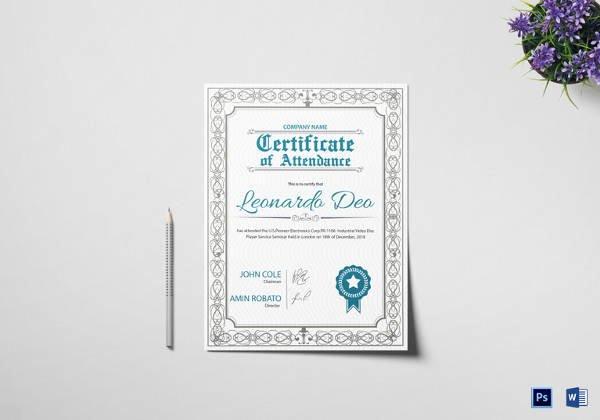 Attendance Certificate Template Word Luxury 23 Sample attendance Certificate Templates In Illustrator