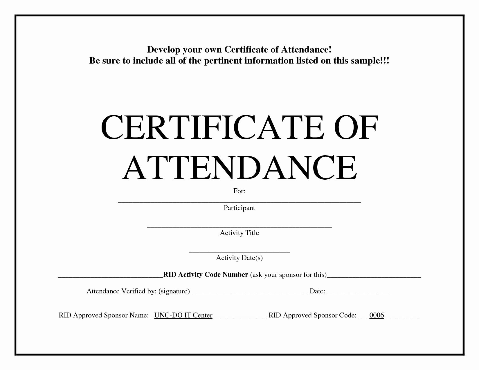Attendance Certificate Template Word Luxury Certificate Of attendance Templates