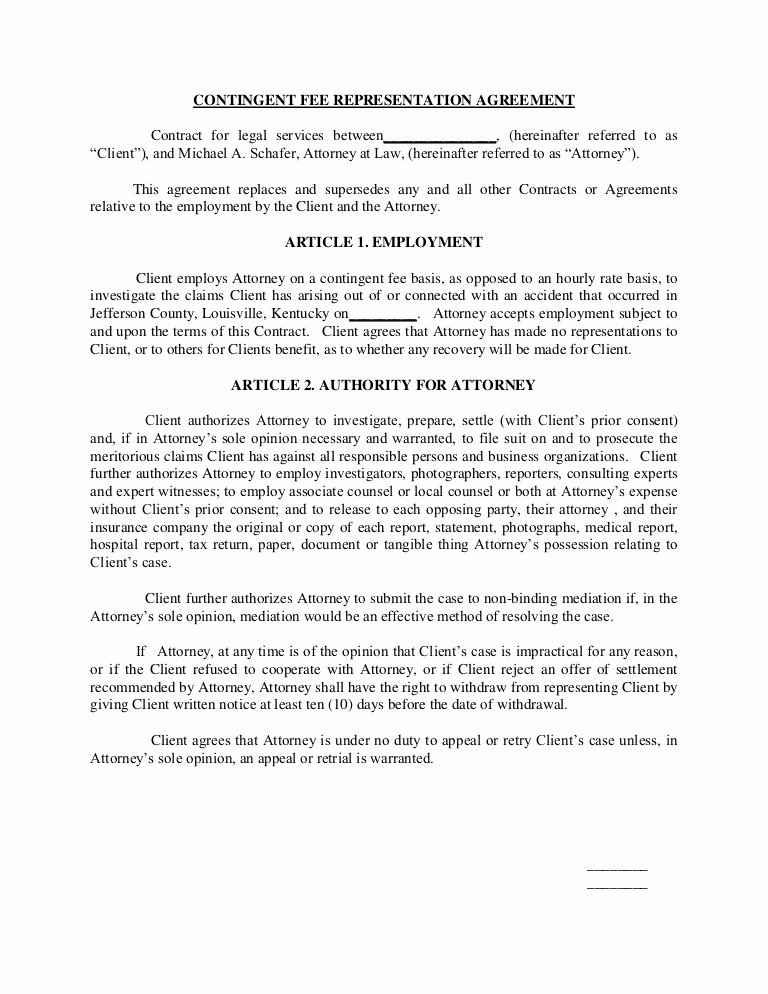 Attorney Letter Of Representation Sample Unique Contingent Fee Representation Agreement Contract for Legal