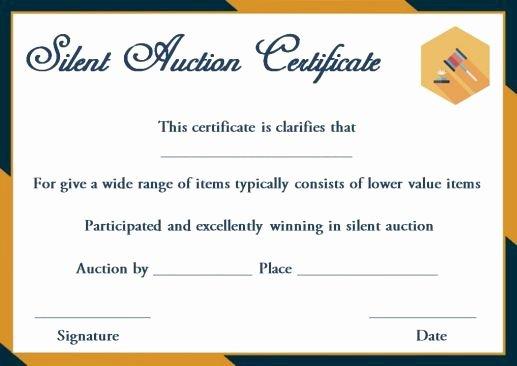Auction Item Certificate Template Elegant Silent Auction Winner Certificate Template Explore Best