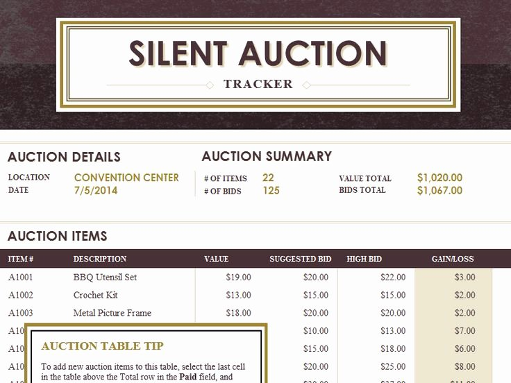 Auction Item Certificate Template Luxury Silent Auction Tracker Templates Fice