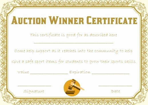 Auction Item Certificate Template New Silent Auction Winner Certificate Template Explore Best