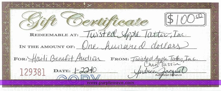 Auction Item Certificate Template Unique Twisted Apple Tattoo $100 T Certificate