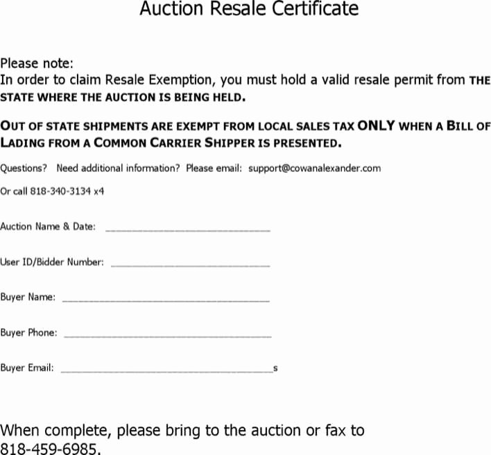 Auction Winner Certificate Template Awesome Download Auction Resale Certificate for Free Tidytemplates