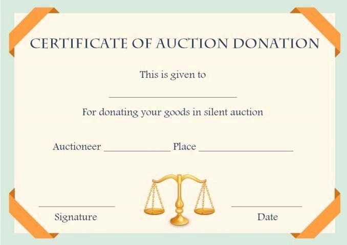 Auction Winner Certificate Template Fresh Silent Auction Donation Certificate Template