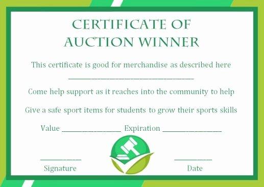 Auction Winner Certificate Template Inspirational Silent Auction Winner Certificate Template Explore Best
