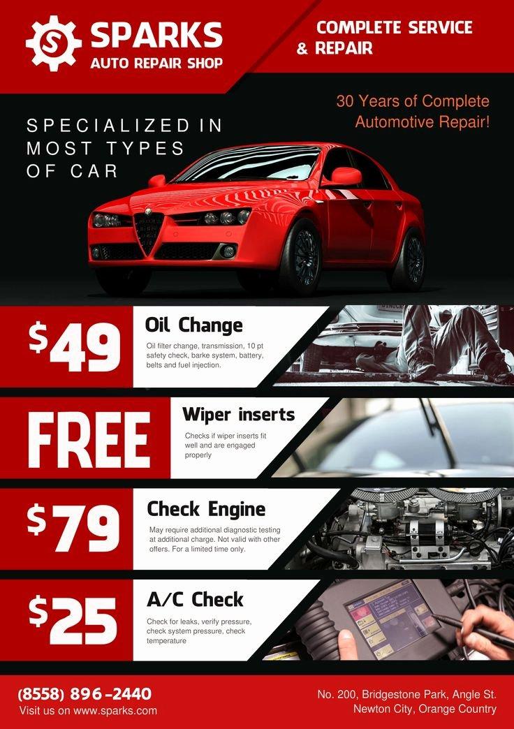 Auto Detailing Flyer Template Fresh Template for Flyer A5 Auto Repair Shop theme