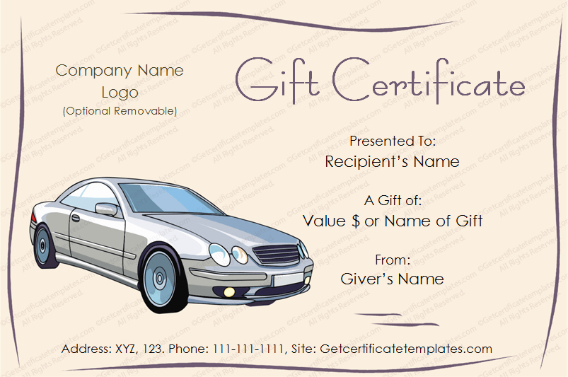 Auto Detailing Gift Certificate Template Fresh Free Tcard Tvoucher Tcertificate Car T