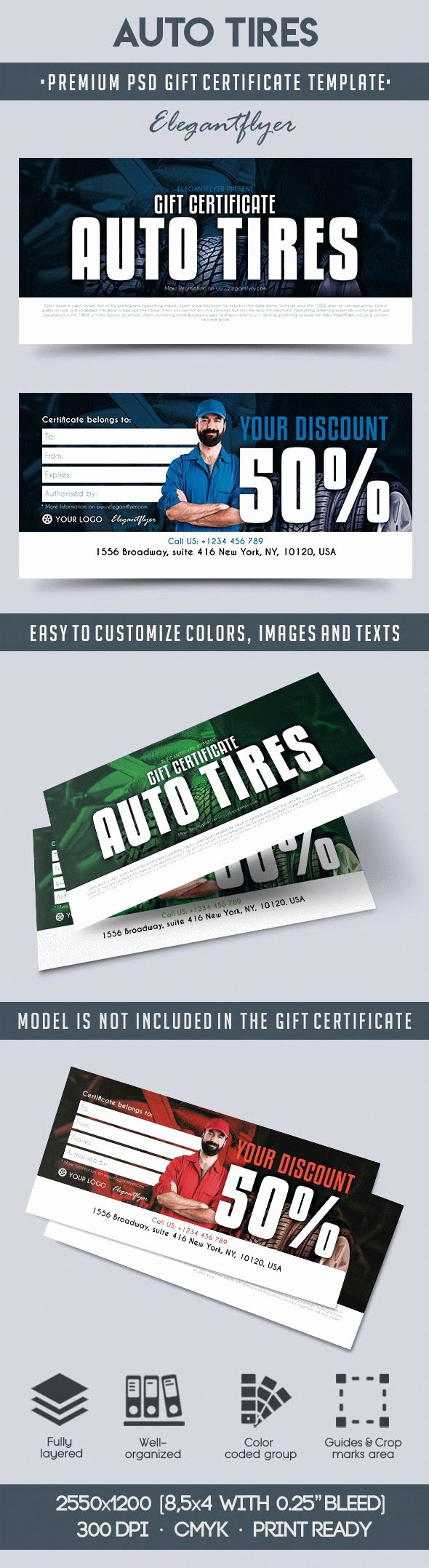 Auto Detailing Gift Certificate Template New Auto Tires – Premium Gift Certificate Psd Template – by
