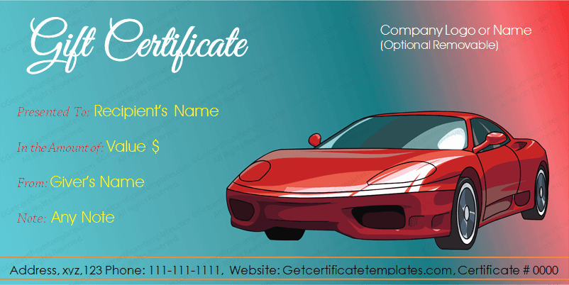 Auto Detailing Gift Certificate Template New Car Deal Gift Certificate Template for Word