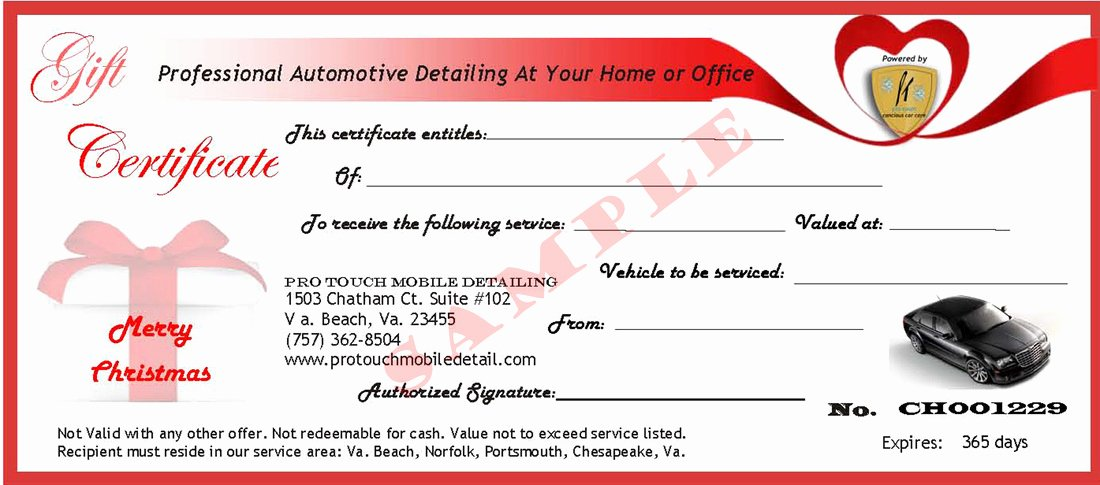 Auto Detailing Gift Certificate Template New Pro touch Mobile Detailing Gift Certificates Pro touch
