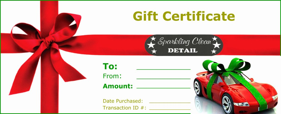Auto Detailing Gift Certificate Template Unique Line Gift Store Sparkling Clean Car Wash