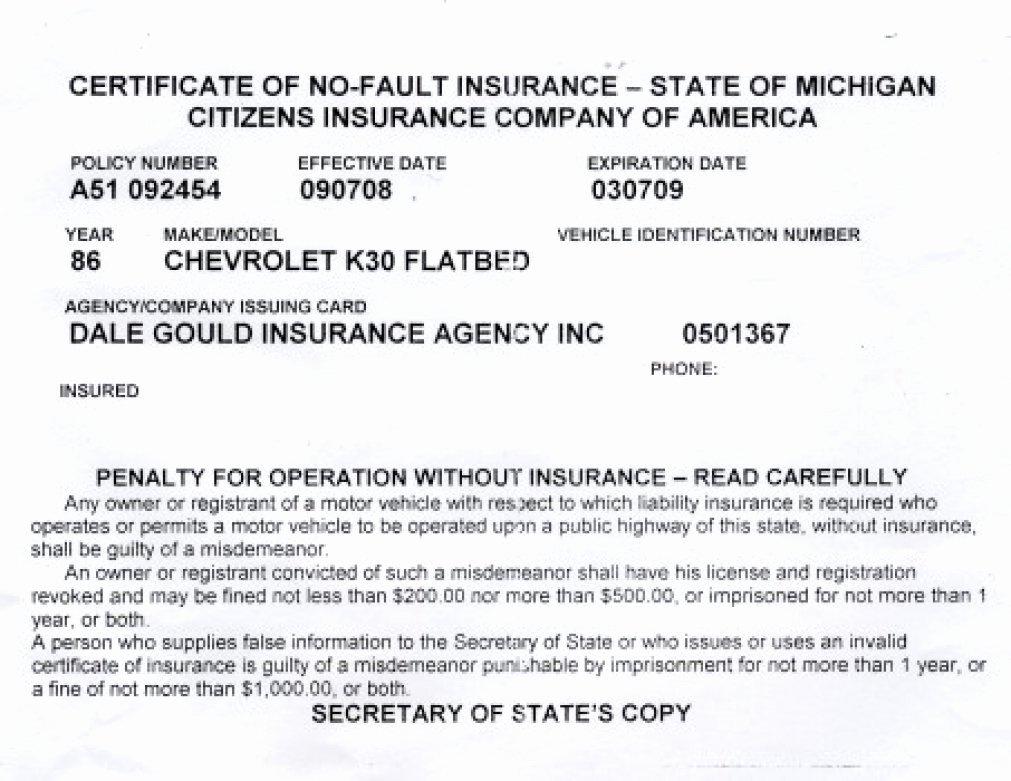 Auto Insurance Card Template Luxury Proof Auto Insurance Template Free