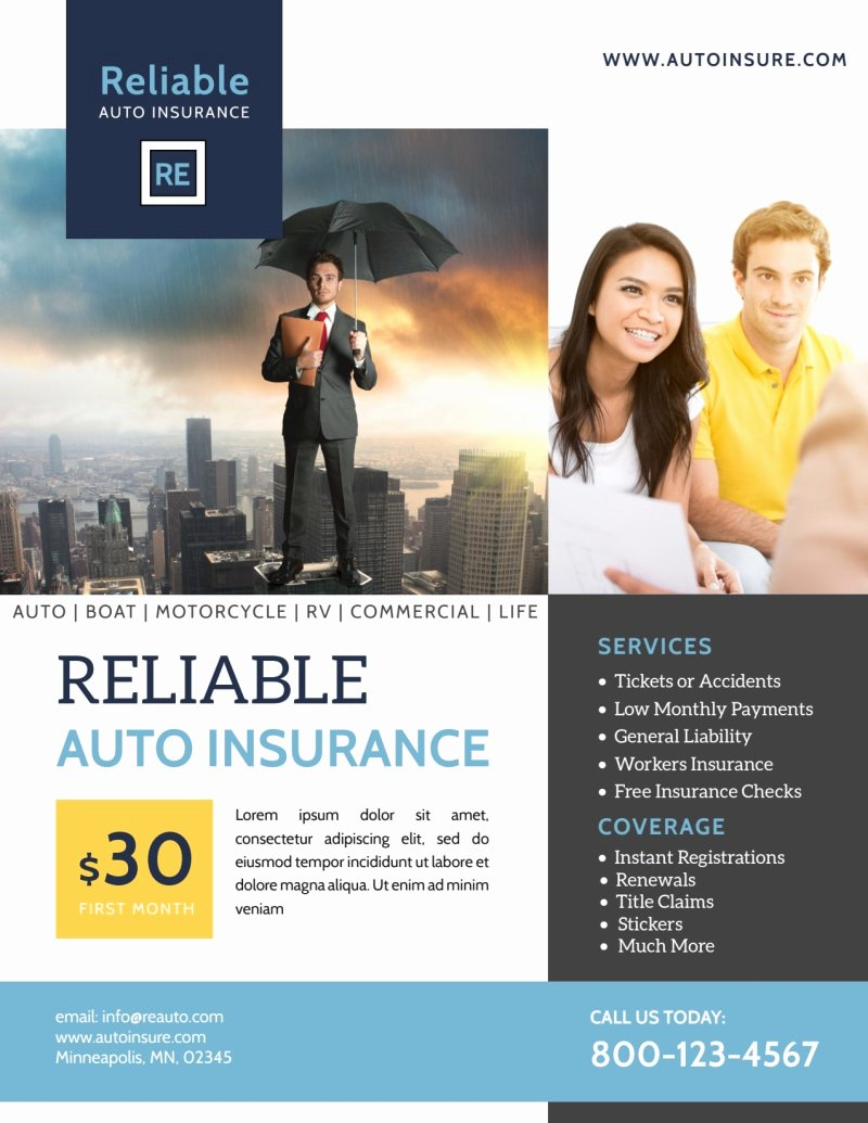 professional auto insurance flyer template